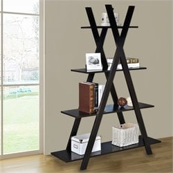 Jeco 4 Tier Kross Bookcase in Brown