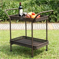 Jeco Wicker Patio Serving Cart in Espresso