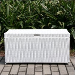 Jeco Wicker Patio Storage Deck Box in White