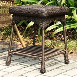 Jeco Wicker Patio End Table in Espresso