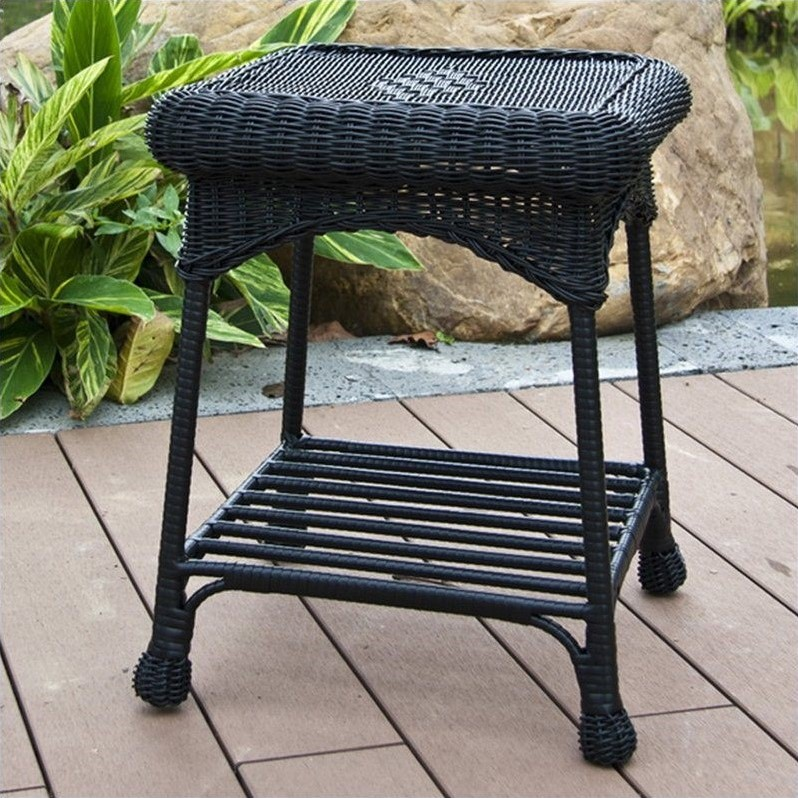 Jeco wicker patio end table in black oti001 d for Outdoor furniture end tables