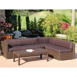 Jeco 3pc Wicker Conversation Sectional Set in Espresso with Brown Cushions