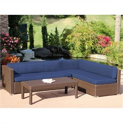 Jeco 3pc Wicker Conversation Sectional Set in Espresso with Blue Cushions