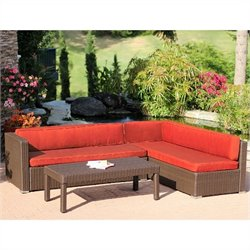 Jeco 3pc Wicker Conversation Sectional Set in Espresso with Red Orange Cushions