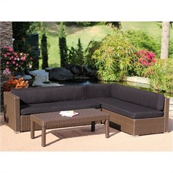 Jeco 3pc Wicker Conversation Sectional Set in Espresso with Coffee Cushions