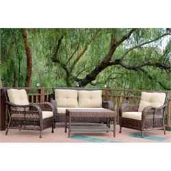 Jeco 4pc Cromwell Wicker Conversation Set in Espresso with Tan Cushions