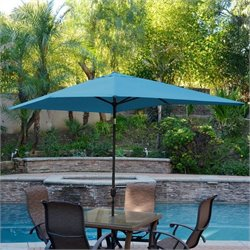 Jeco 6.5' x 10' Aluminum Patio Market Umbrella Tilt with Crank in Turquoise Fabric Black Pole