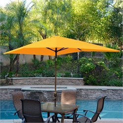 Jeco 6.5' x 10' Aluminum Patio Market Umbrella Tilt with Crank in Yellow Fabric Champagne Pole