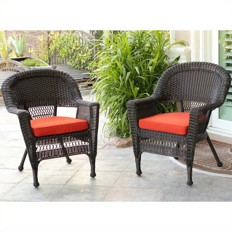 Jeco Wicker Chair In Espresso With Red