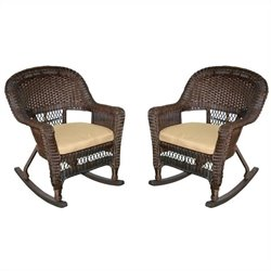 Jeco Rocker Wicker Chair in Espresso with Tan Cushion (Set of 2)