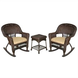 Jeco 3pc Wicker Rocker Chair Set in Espresso with Tan Cushion