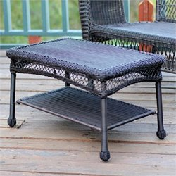 Jeco Wicker Patio Furniture Coffee Table in Espresso