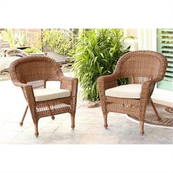 Jeco Wicker Chair in Honey with Tan Cushion - Set of  2