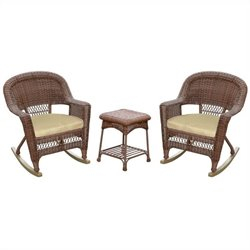 Jeco 3pc Wicker Rocker Chair Set in Honey with Tan Cushion