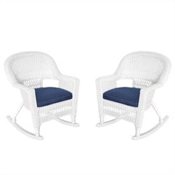 Jeco Rocker Wicker Chair in White with Blue Cushion (Set of 2)