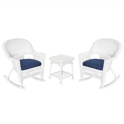 Jeco 3pc Rocker Wicker Chair Set in White with Blue Cushion