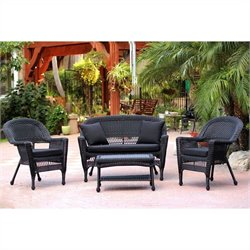 Jeco 4pc Wicker Conversation Set in Black with Black Cushions