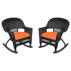 Jeco Wicker Rocker Chair in Black with Orange Cushion (Set of 2)