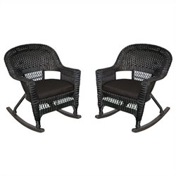 Jeco Wicker Rocker Chair in Black with Black Cushion (Set of 2)