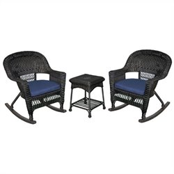 Jeco 3pc Wicker Rocker Chair Set in Black with Blue Cushion
