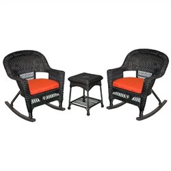 Jeco 3pc Wicker Rocker Chair Set in Black with Red Cushion