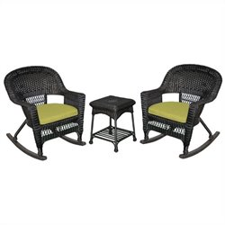 Jeco 3pc Wicker Rocker Chair Set in Black with Green Cushion