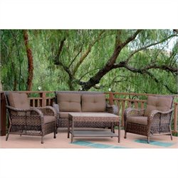 Jeco 4pc Cromwell Wicker Conversation Set in Espresso with Brown Cushions