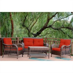 Jeco 4pc Cromwell Wicker Conversation Set in Espresso with Red Cushions
