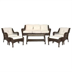 Jeco 6pc Wicker Seating Set in Espresso with Tan Cushions