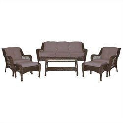 Jeco 6pc Wicker Seating Set in Espresso with Brown Cushions