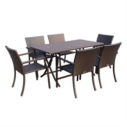 Jeco 7 Piece Wicker Buffet Table Set