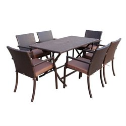 Jeco 7 Piece Wicker Buffet Table Set in Brown