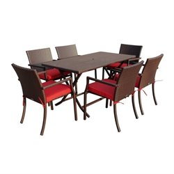 Jeco 7 Piece Wicker Buffet Table Set in Red