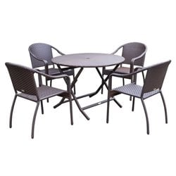 5 Piece Wicker Table Dining Set Curved Back
