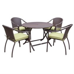 Jeco 5 Piece Wicker Table Dining Set in Green