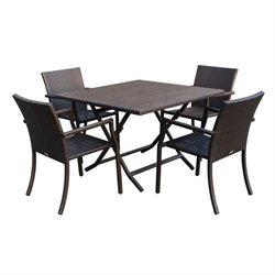 Jeco 5 Piece Wicker Table Dining Set