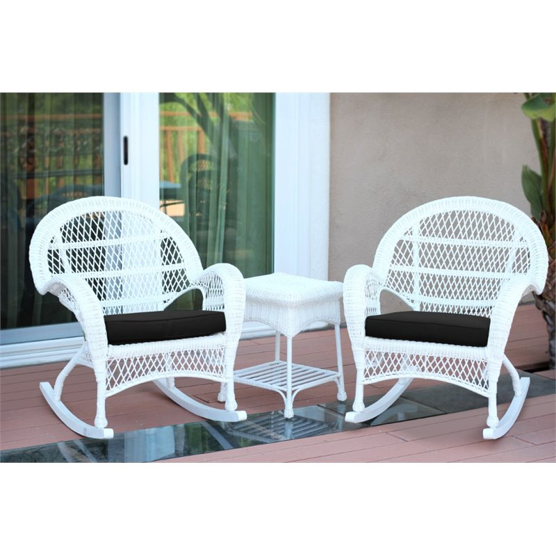 white chairs sets outdoor furniture for small spaces | Jeco 3 Piece Wicker Conversation Set in White with Black ...