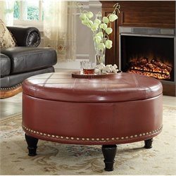 INSPIRED by Bassett Augusta Storage Leather Ottoman in Crimson Red