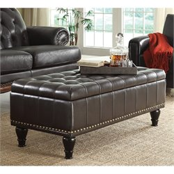 INSPIRED by Bassett Caldwell Storage Leather Ottoman in Espresso