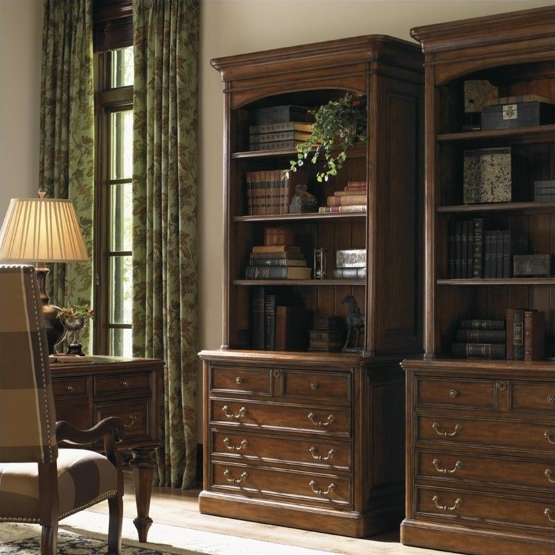 Breckenridge Keystone 2 Drawer File Cabinet and Hutch Set in Briarwood