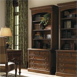 Sligh Breckenridge Keystone 2 Drawer File Cabinet and Hutch Set in Briarwood