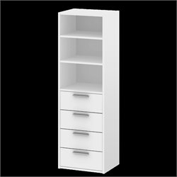 Tvilum Sonoma 4 Drawer and 3 Shelf Bookcase in White