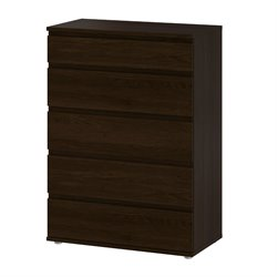 Tvilum Bright 5 Drawer Wide Chest in Coffee