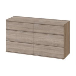 6 Drawer Double Dresser in Truffle