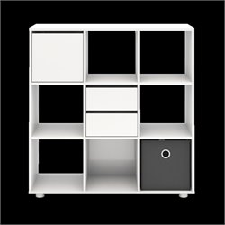 9 Shelf Bookcase with Door and Drawers in White High Gloss