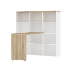 Tvilum Aurora Computer Desk with 12 Shelf Bookcase in White and Oak