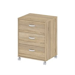 3 Drawer Mobile File Cabinet in Oak Structure