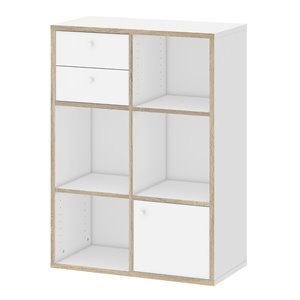 5 Shelf Bookcase with 1 Door and 2 Drawer