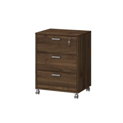 3 Drawer Mobile File Cabinet in Walnut