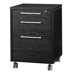 3 Drawer Wood Mobile Filing Cabinet in Black Wood Grain